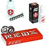 Bones Super Reds Bearings 8 Pack set - Speed Cream & Cleaning Unit Combo by Bones