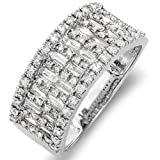 14k White Gold Round & Baguette Diamond Ladies Anniversary Wedding Band Ring (1.10 cttw, H-I Color, SI-I Clarity)
