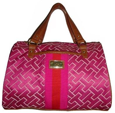 Tommy Hilfiger Women's Satchel Style Handbag, Large Logo, Pink