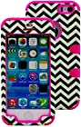 myLife Rose Pink and Black - Chevron Series (Neo Hypergrip Flex Gel) 3 Piece Case for iPhone 5/5S (5G) 5th Generation iTouch Smartphone by Apple (External 2 Piece Fitted On Hard Rubberized Plates + Internal Soft Silicone Easy Grip Bumper Gel)