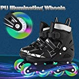 Hurbo Adjustable Illuminating Inline Skates with Light up Wheels Beginner Rollerblades Fun Illuminating Roller Skates for Kids Boys and Ladies (Black White, Medium) (Color: Black White, Tamaño: Medium)