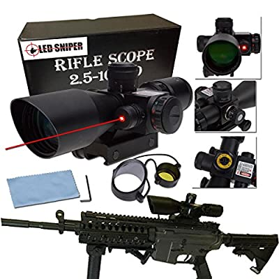 BTC Tactical 2.5-10x40 Rifle Scope with Illuminated Range Finder Reticle and Built-In Red or Green Laser Sight Reflex Picatinny Mount by BTC Optics