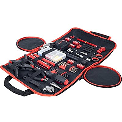 Stalwart Tool Kit Household Car & Office in Roll Up Bag 86Piece by