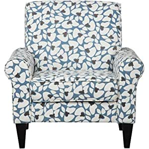 Transitional Design Spacious Dana Caribbean Floral Rolled Arm Accent Chair Ideal