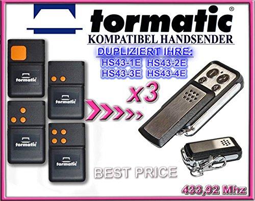 3 X TORMATIC HS43-1E , HS43-2E , HS43-3E , HS43-4E Kompatibel Handsender, Ersatz,433,92 Mhz, TOP Qualität clone remote control, Universal remote control transmitter replacement