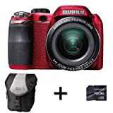 Fujifilm FinePix S4200 Red + Case and 16GB Memory Card (14MP, 24x Optical Zoom) 3 inch LCD Screen