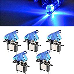 Tonsee 5PC 12V 20A LED Rocker Toggle Racing Switch SPST ON/OFF Car Truck (Blue)