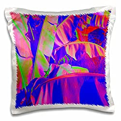 3dRose pc_204565_1 Print of Banana Leaves in Neon Colors-Pillow Case, 16 by 16