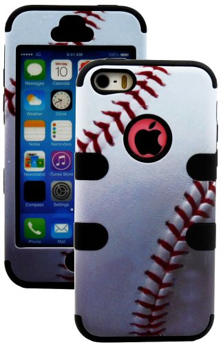 Mylife (Tm) Black And Baseball Print - Sports Series (Neo Hypergrip Flex Gel) 3 Piece Case For Iphone 5/5S (5G) 5Th Generation Itouch Smartphone By Apple (External 2 Piece Fitted On Hard Rubberized Plates + Internal Soft Silicone Easy Grip Bumper Gel + Li