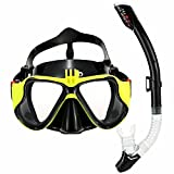 Snorkeling Mask Set, OBOSOE Anti-Fog Scuba Diving Mask with Gopro Camera Adapter Design for Hero HD, Session, Xiaomi Yi Action Camera - Yellow