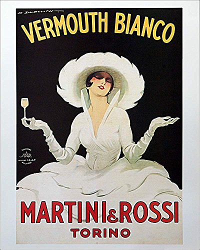 Martini & Rossi - Vermouth Bianco by Marcello Dudovich. Vintage Advertising Reproduction Art Print Poster (16 x 20) (Vintage Wine Poster compare prices)