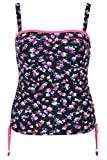 Yoursclothing Plus Size Womens Floral Print Bandeau Tankini Top