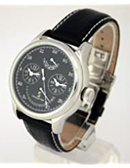 Christophe Skye - Dualtimer S Automatic Watch with Black Leather Strap. Model: CS-843332001655