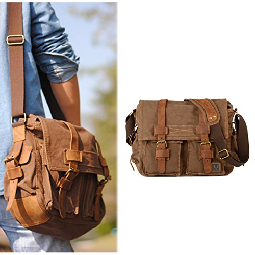 Vintage Military Men Canvas Messenger Bag Shoulder Laptop Bag-Size L - Deep Coffee