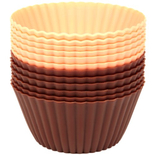 Precision Kitchenware - 12 Pack Of Premium Silicone Baking Cups - Brown/Pink front-208584