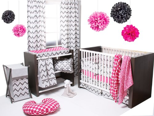 Ikat Pink/Grey 4 Crib Set with 2 Muslin Blankets