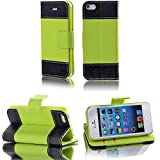 myLife (TM) Bright Green and Black - Modern Design - Textured Koskin Faux Leather (Card and ID Holder + Magnetic Detachable Closing) Slim Wallet for iPhone 5/5S (5G) 5th Generation iTouch Smartphone by Apple (External Rugged Synthetic Leather With Magnetic Clip + Internal Secure Snap In Hard Rubberized Bumper Holder)