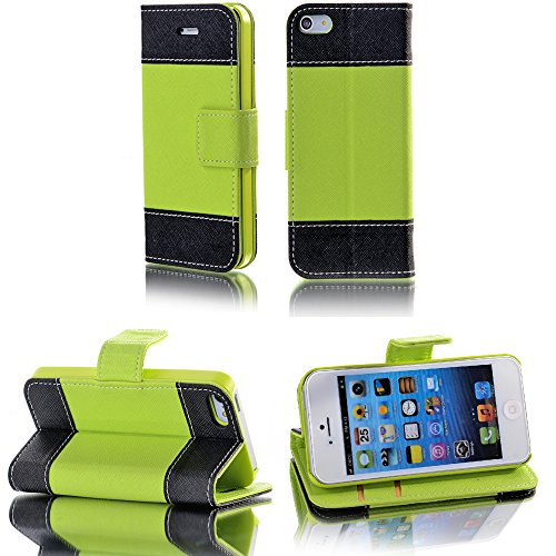 Mylife (Tm) Bright Green And Black - Modern Design - Textured Koskin Faux Leather (Card And Id Holder + Magnetic Detachable Closing) Slim Wallet For Iphone 5/5S (5G) 5Th Generation Itouch Smartphone By Apple (External Rugged Synthetic Leather With Magneti