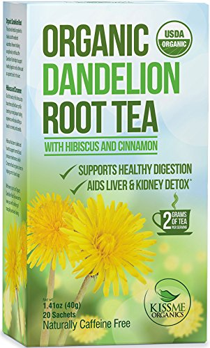Dandelion Root Tea - Raw Organic Vitamin Rich Digestive - 1 Pack (20 Bags 2 Grams Each) (Kiss Me Organics compare prices)