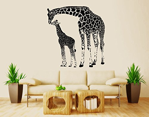 Wall Decal Vinyl Sticker Decals Art Decor Design Giraffe Mother And Baby Animals Jungle Safari Kids Children Nursery Baby Bedroom (R1038) front-724197