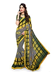 Sourbh Sareess Yellow And Black Faux Georgette Lace Work Best Sarees For Women Party Wear,Women Clothing Collection...