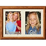 MOMMYS GIRL Double 5x7 Two Opening Fruitwood Frame ~ Holds two portrait photos w cream mat Great Christmas Birthday or Mothers Day Gift for MOM!