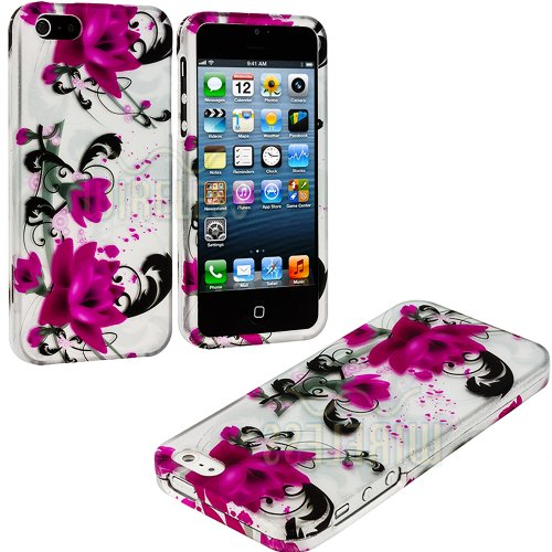 Mylife Modern Glossy Magenta Flowers Series (2 Piece Snap On) Hardshell Plates Case For The Iphone 5/5S (5G) 5Th Generation Touch Phone (Clip Fitted Front And Back Solid Cover Case + Rubberized Tough Armor Skin)