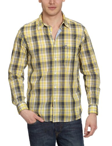 Replay -  Camicia Casual  - Classico  - Maniche lunghe  - Uomo Mehrfarbig (yellow/butter white/dark grey) 48
