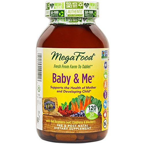 MegaFood - Baby & Me, Prenatal and Postnatal Support for Mother and Baby, 120 Tablets (Premium Packaging)