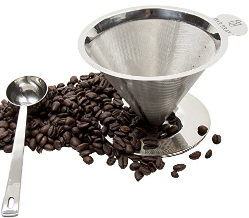 Drip Coffee Maker + Spoon by Bar Brat / Fastest Way To Make Coffee / Free 110 Cocktail Recipe Ebook Included / Heat Resistant Handle (Smallest Electric Tea Kettle compare prices)