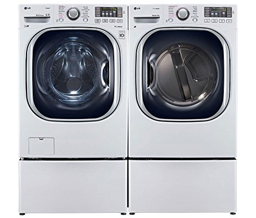 "LG White Front Load Laundry Pair with WM4270HWA 27"" Washer, DLGX4271W 27"" Gas Dryer and 2 WDP4W Pedestals in Smooth White"