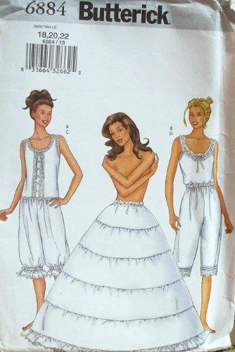 OOP Butterick Historical Pattern 6884. Misses Szs 18;20;22 Camisole; Pantaloonicks & Hoop Petticoat