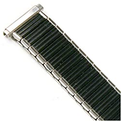 Watch Band Expansion Strech Metal Black with Silver color edges fits 16mm to 19mm