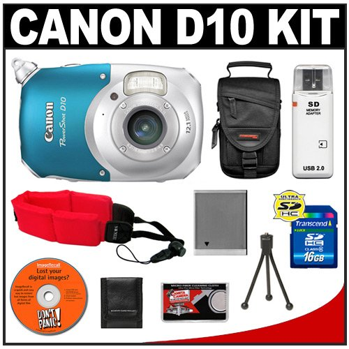 Canon PowerShot D10 Shock & Waterproof Digital Camera + 16GB Card + Case + Battery + Accessory Kit