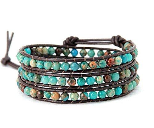 Natural December Birthstone Turquoise-Jasper Leather Beaded Wrap Bracelet