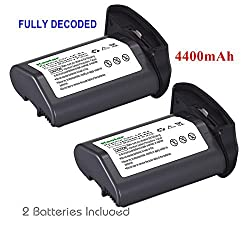 [Full Coded] Kastar LP-E4 Battery (2-Pack) 11.1V 4400mAh 48.4Wh for Canon LP-E4 LPE4 Li-ion Battery work with Canon EOS-1D C EOS-1D Mark III EOS-1Ds Mark III EOS-1D Mark IV Cameras