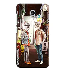 Omnam Two Cats Waring Men Dress And Talking To Each Other Printed Designer Back Cover Case For Lenovo Vibe P1