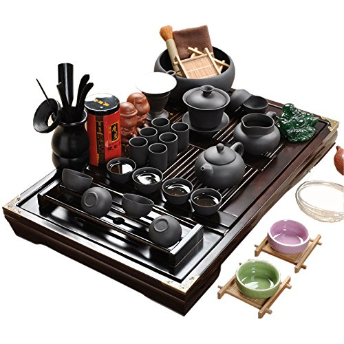 Holz-Tee-Tablett-Keramik-Kung-Fu-Teekanne-TeesetTeeservice-Black