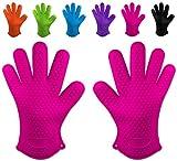 Belmalia gants de cuisine en silicone résistant à la chaleur pour cuisine et grill et barbecue Rose