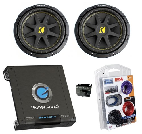"2) New Kicker 10C104 10"" 600W 4-Ohm Car Subwoofers + Ac10002 1000W Amp + Amp Kit"