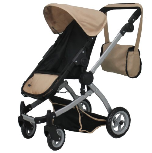 Mommy & Me Deluxe Babyboo Sand Doll Stroller With Swiveling Wheels (Color Sand & Black) With Free Carriage Bag (Multi Function View All Photos) - 9651Csand front-65831