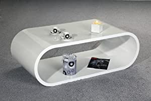 Retro Couchtisch 120x60 Hochglanz Cube (Weiß)