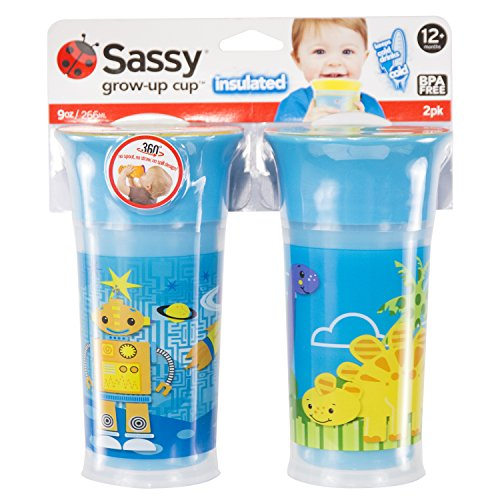 Sassy 9oz Insulated Grow Up Cup 2pk, Blue/Blue, 9 Ounce