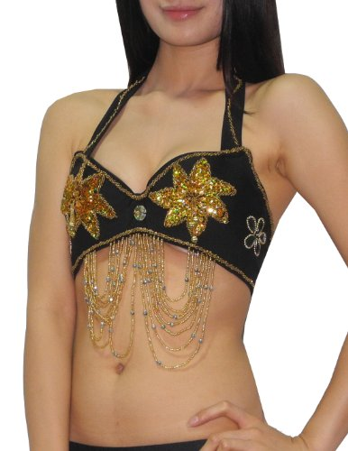 Womens Sexy Exotic Belly Dance Sequins & Beaded Bra Top with Fringe