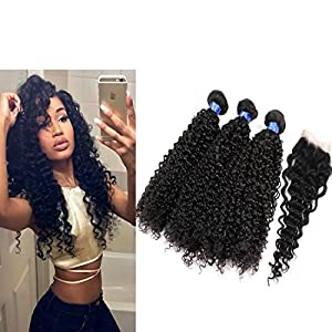 Beauty Code Hair Peruvian Virgin Human Hair Curly Wave 3 Bundles With Top Lace Closure For Woman Beauty 7A Grade Unprocessed Human Hair Natural Color No Tangle (12 14 16 with 8)