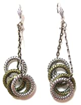 Anne Koplik Designs Contemporary Style Multi-Circle Swag Dangle Earrings with Gold and Silver Plated Finishes