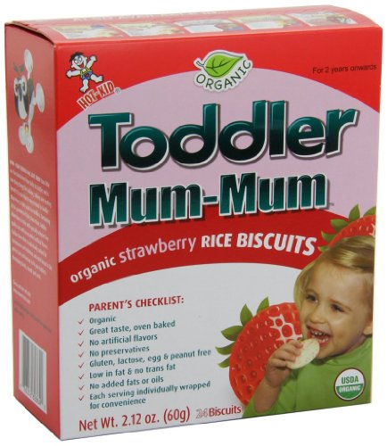Baby / Child Toddler Mum-Mum Organic Gluten-Free & Oven-Baked Strawberry Flavor Rice Biscuit - 24-Pcs (Pack Of 6) Infant