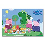 Poster art print: PEPPA PIG PRINCESS PICNIC KIDS CARTOON DINOSAUR (A1 maxi - 61x91.5cm / 24x36in, semi-gloss satin paper)