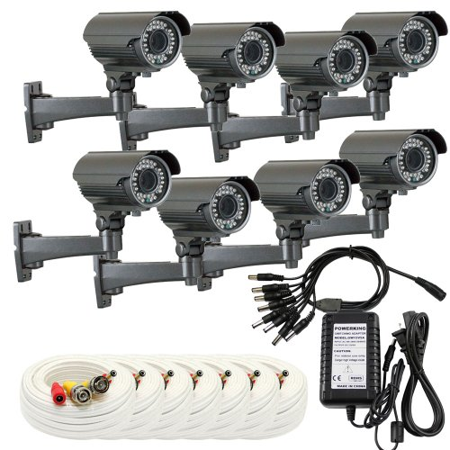 """Gw 8 X 1/3"""" Panasonic Ccd Outdoor Camera With Bnc Cables & Power Supply Pack, 2.8~12Mm Lens, 700 Tv Lines, 36Pcs Ir Led, 82 Feet Ir Distance. Vandal Proof & Water Proof"""