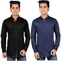 Nimegh Blue, Black Color Cotton Casual Slim fit Shirt For men's (Pack of 2)